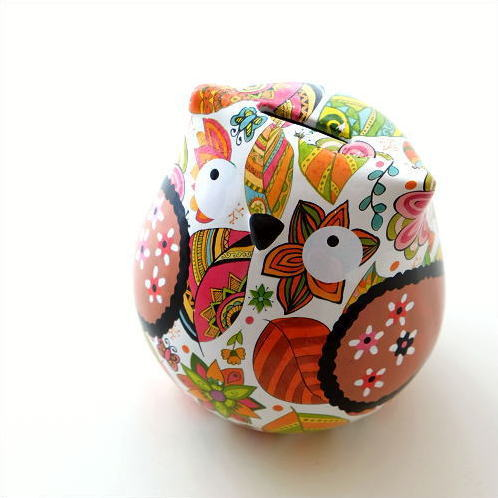 貯金箱 かわいい 陶器 ふくろう 梟 オブジェ 置物 可愛い 動物 アニマル インテリア 陶器のカラフル貯金箱 フクロウ [toy1640]