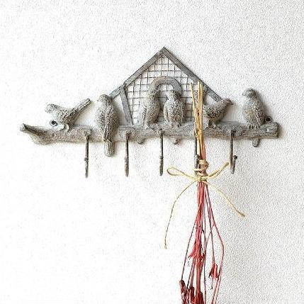 フック 壁掛け 5連 アンティーク レトロ おしゃれ かわいい 鳥 雑貨 引っ掛け ウォールフック 玄関 壁 キーフック 鍵掛け シャビーなバードガーデンフック