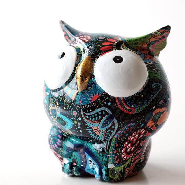 貯金箱 おしゃれ かわいい 陶器 ふくろう 梟 オブジェ 置物 可愛い インテリア 陶器の貯金箱 アートなフクロウ [toy3735]