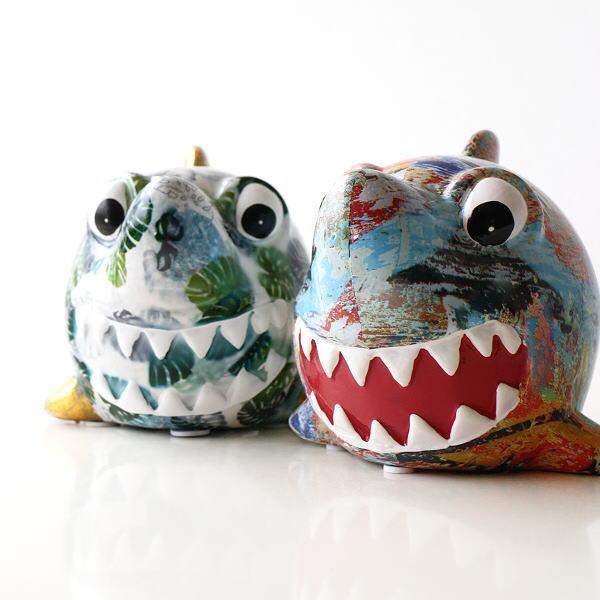 貯金箱 おしゃれ かわいい 陶器 サメ 鮫 オブジェ 置物 可愛い インテリア 陶器の貯金箱 サメ2タイプ [toy3757]