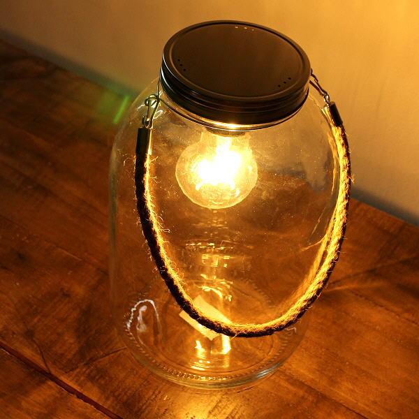 LEDライト おしゃれ ガラス 電球 照明 テーブルライト シンプル レトロ アンティーク LED付きガラスボトル ハンドル付き [toy4415]