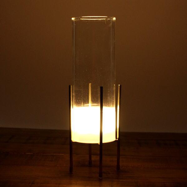 花瓶 おしゃれ ガラス フラワーベース LED ライト ゴールド 透明 クリア スタイリッシュ モダン シンプル LED付きガラススタンドベース [toy4442]