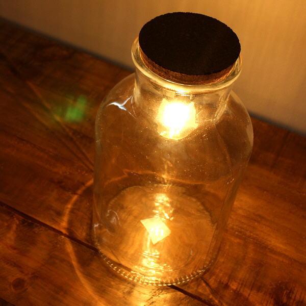 LEDライト おしゃれ ガラス 電球 照明 テーブルライト シンプル レトロ アンティーク LED付きガラスボトル ボトル型 [toy4447]