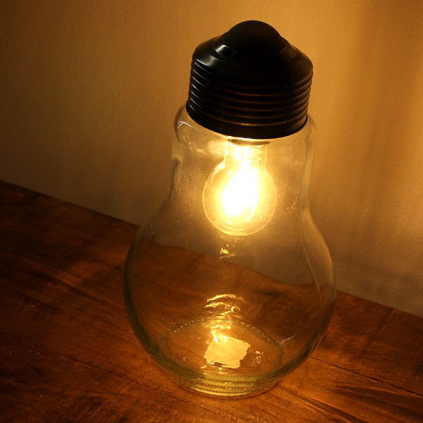 LEDライト おしゃれ ガラス 電球 照明 テーブルライト シンプル レトロ アンティーク LED付きガラスボトル 電球型 [toy4449]