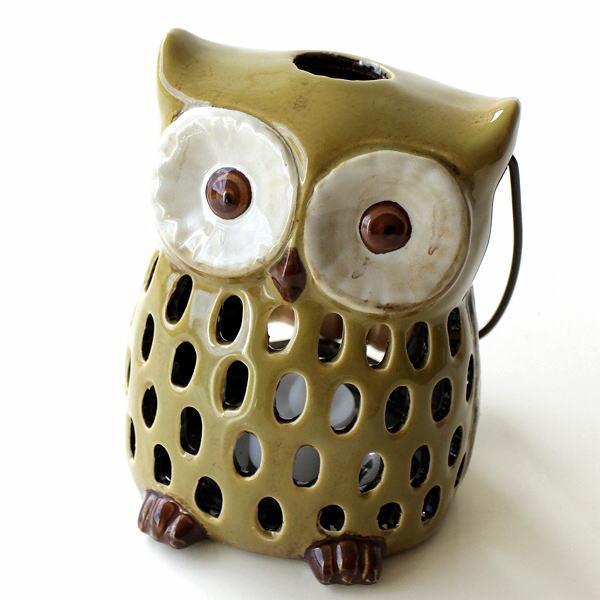 キャンドルホルダー ランタン 陶器 ふくろう 香炉 お香立て インセンスホルダー おしゃれ かわいい 雑貨 LED付きふくろうキャンドルホルダー [toy4540]