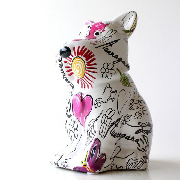 貯金箱 かわいい おしゃれ 陶器 いぬ 犬 可愛い 動物 アニマル インテリア オブジェ 置物 陶器のカラフル貯金箱 イヌ [toy4684]