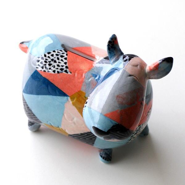 貯金箱 かわいい おしゃれ 陶器 ウシ 牛 可愛い 動物 アニマル インテリア オブジェ 置物 陶器のカラフル貯金箱 ウシ [toy4686]