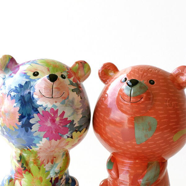 貯金箱 おしゃれ かわいい 陶器 クマ 熊 オブジェ 置物 可愛い インテリア 陶器の貯金箱 くま2タイプ [toy4960]
