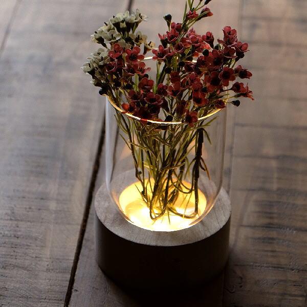 花瓶 おしゃれ ガラス フラワーベース LED ライト 透明 クリア スタイリッシュ モダン シンプル LED付きガラススタンドベース C [toy5192]