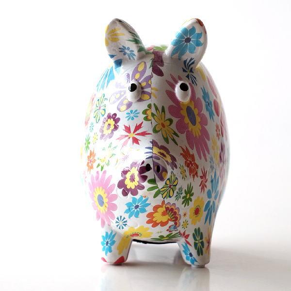 貯金箱 おしゃれ かわいい 陶器 ブタ 豚 オブジェ 置物 可愛い インテリア 陶器の貯金箱 フラワーピッグ [toy5215]