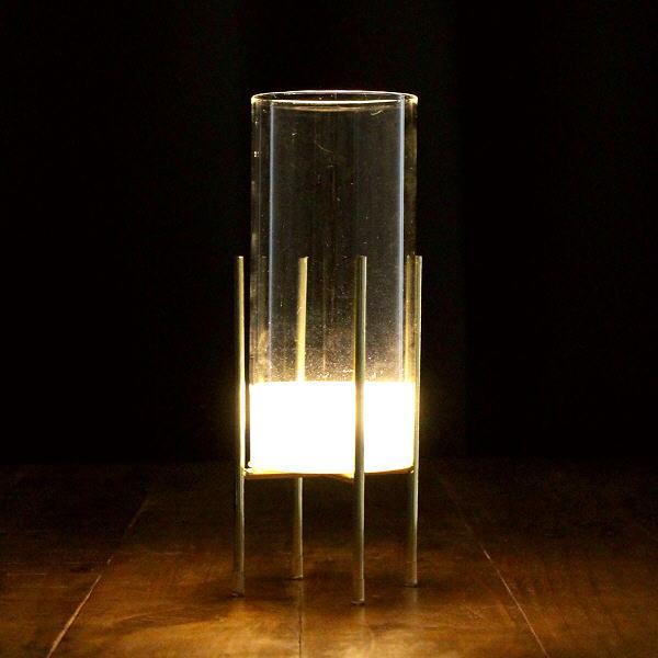 花瓶 おしゃれ ガラス フラワーベース LED ライト ゴールド 透明 クリア スタイリッシュ モダン シンプル LED付きガラススタンドベース ミドル [toy5785]