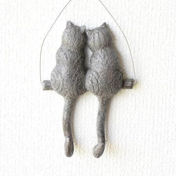 壁掛けフック おしゃれ ペア ウォールフック 猫雑貨 ねこ 壁掛けキーフック 小物掛け かわいい ブランコネコのテールフック ペア [toy5794]