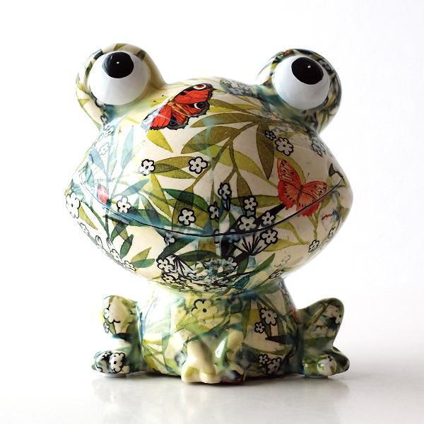 貯金箱 おしゃれ かわいい 陶器 カエル 蛙 オブジェ 置物 可愛い インテリア 陶器の貯金箱 ボタニカルフロッグ [toy6180]