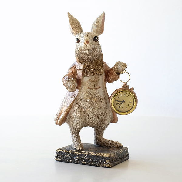 置き時計 置時計 おしゃれ アンティーク かわいい うさぎ 置物 雑貨 ウサギ オブジェ インテリア ラビット執事のクロック [toy7105]