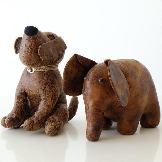 ドアストッパー ぬいぐるみ 室内 布製 おしゃれ かわいい いぬ イヌ 犬 ぞう ゾウ 象 デザイン オブジェ 戸当たり ソフトなドアストッパーA 2タイプ [toy7195]