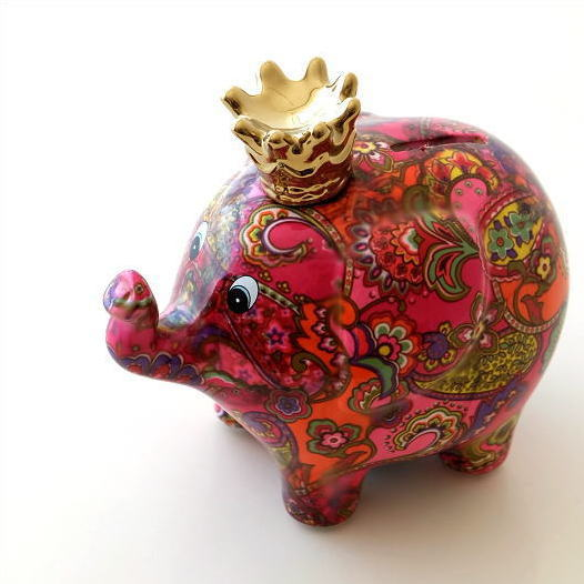 陶器のカラフル貯金箱 ゾウ