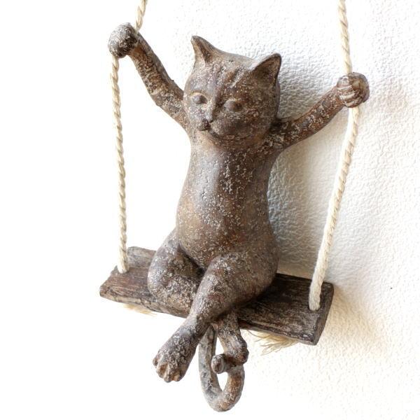オブジェ おしゃれ 壁掛け ねこ かわいい ウォールデコ 吊り下げ ぶらんこ オーナメント 猫雑貨 ぶらんこネコ C [toy8727]