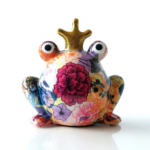 陶器のカラフル貯金箱 カエル [toy8939]
