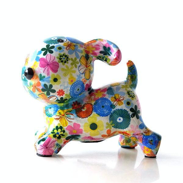 貯金箱 おしゃれ かわいい 陶器 イヌ 犬 オブジェ 置物 可愛い 動物 アニマル インテリア 陶器のカラフル貯金箱 イヌ [toy9000]