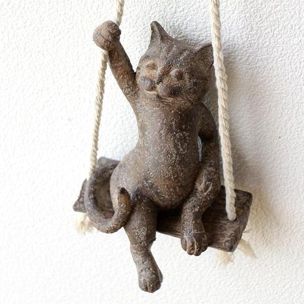 オブジェ おしゃれ 壁掛け ねこ かわいい ウォールデコ 吊り下げ ぶらんこ オーナメント 猫雑貨 ぶらんこネコ B [toy9481]