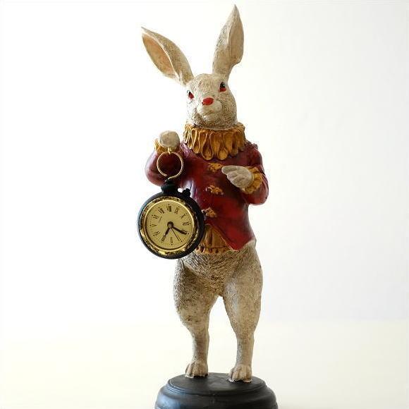 うさぎ 置物 オブジェ 置き時計 卓上 時計 テーブルクロック かわいい ラビットクロック レッドジャケット [toy9730]