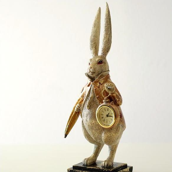 置き時計 おしゃれ かわいい うさぎ 置物 雑貨 オブジェ アナログ ラビットクロック ロングイヤー [toy9731]