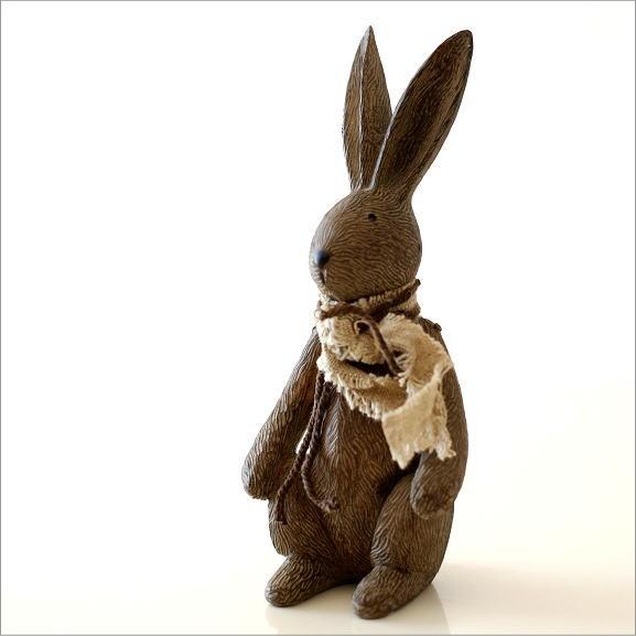ウサギのオブジェ 木彫り風