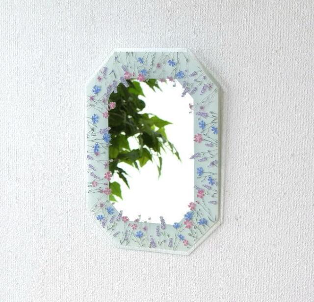 鏡 八角ミラー 壁掛け おしゃれ 壁掛けミラー ウォールミラー かわいい 八角形 大きい 幸運 八角ミラー L フィールドフラワーBL [uwr6894]