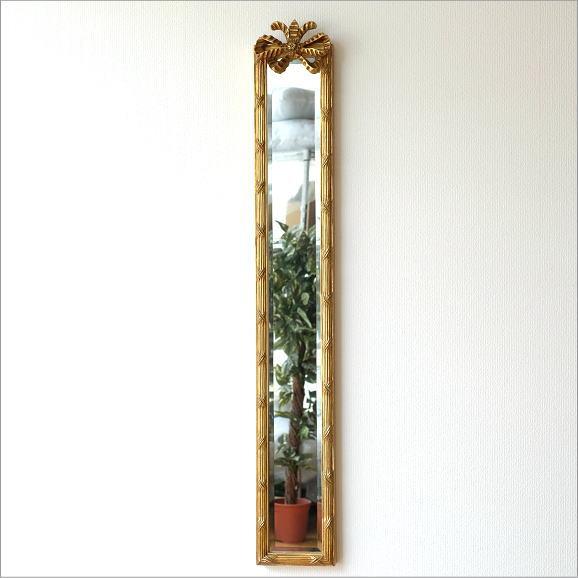 鏡 壁掛けミラー スリム 玄関 おしゃれ エレガント アンティークなロングミラー B