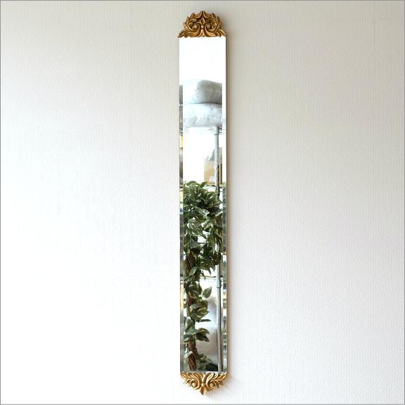 鏡 壁掛けミラー スリム 玄関 おしゃれ エレガント アンティークなロングミラー C