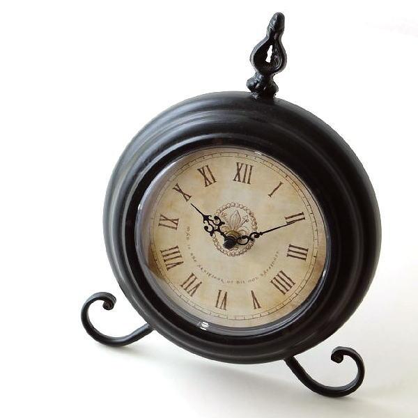 置き時計 おしゃれ アナログ アンティーク レトロ リビング 卓上 時計 スタンドクロック エレガント クラシック シャビーアイアンの置時計 [vin8389]