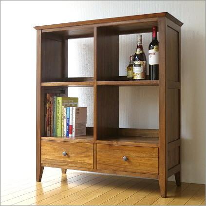 本棚 無垢 木製 本収納 飾り棚 ディスプレイラック チークフリーラックH100【送料無料】