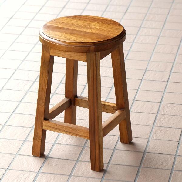 スツール 木製 椅子 丸椅子 おしゃれ キッチン 玄関 天然木 無垢材 ウッドスツール コンパクト チークキッチンロースツール H42 【送料無料】 [wat0488]