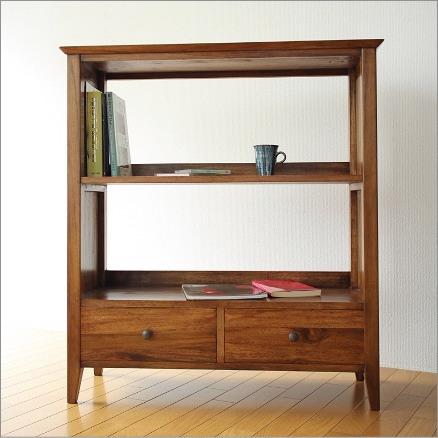 本棚 シェルフ ラック 収納 おしゃれ 書棚 木製 無垢 アジアン家具 完成品 チークフリーラックH100(B)【送料無料】