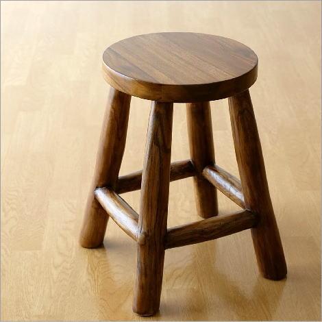 スツール 木製 椅子 おしゃれ アジアン家具 無垢 丸椅子 天然木 チーク原木スツール S