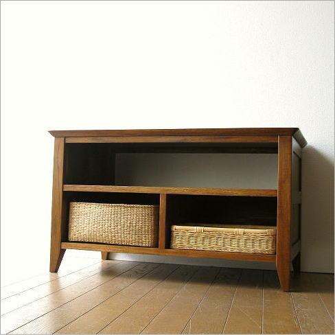 テレビ台 コンパクト テレビボード 収納 おしゃれ 木製 無垢 アジアン家具 完成品 チークローボード80B【送料無料】