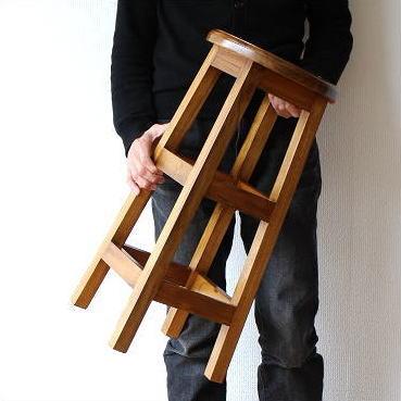 スツール チーク 無垢材 丸椅子 天然木 おしゃれ 高さ60 チークキッチンハイスツール 【送料無料】 [wat3552]