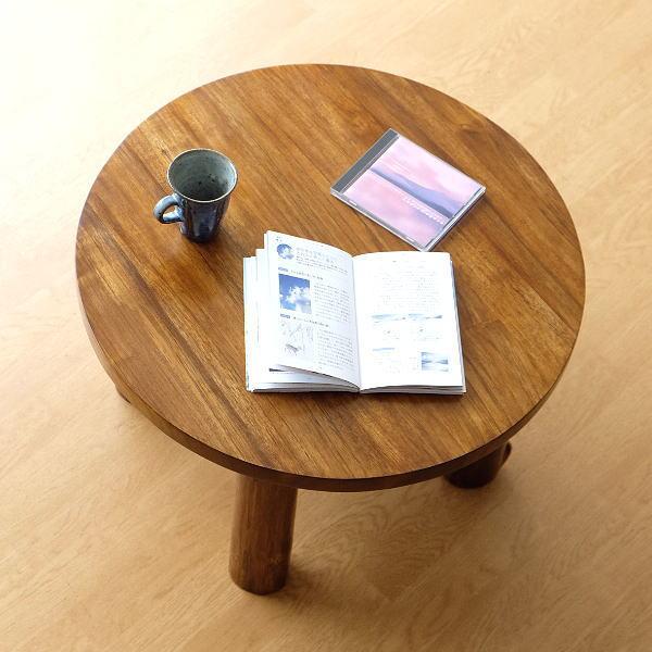 丸テーブル ちゃぶ台 60cm チーク 無垢材 チークラウンドテーブル60 【送料無料】 [wat4485]