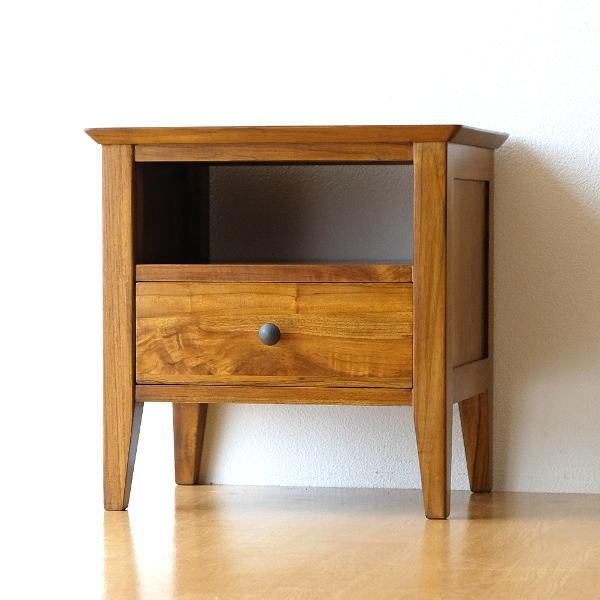 ベッドサイドテーブル ナイトテーブル チーク 無垢材 天然木 チークサイドテーブル45 【送料無料】 [wat4510]