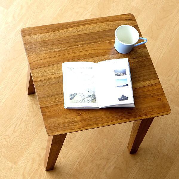 テーブル チーク 無垢材 幅45×45 正方形 天然木 チークコンパクトテーブル45 【送料無料】 [wat5537]