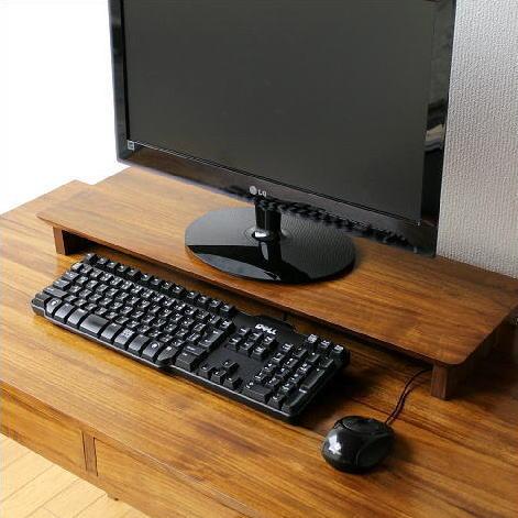 キーボードラック 机上台 チーク 無垢材 木製 天然木 チークキーボード棚 [wat7813]