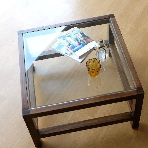 ローテーブル ガラステーブル おしゃれ 四角 正方形 無垢材 リビングテーブル 北欧 スンカイ ガラステーブル 62 【送料無料】 [wat8037]