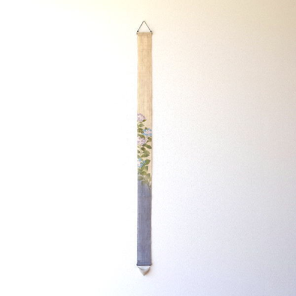タペストリー おしゃれ 和風 和モダン 麻 縦長 細タペストリー 額紫陽花 [wlj0260]