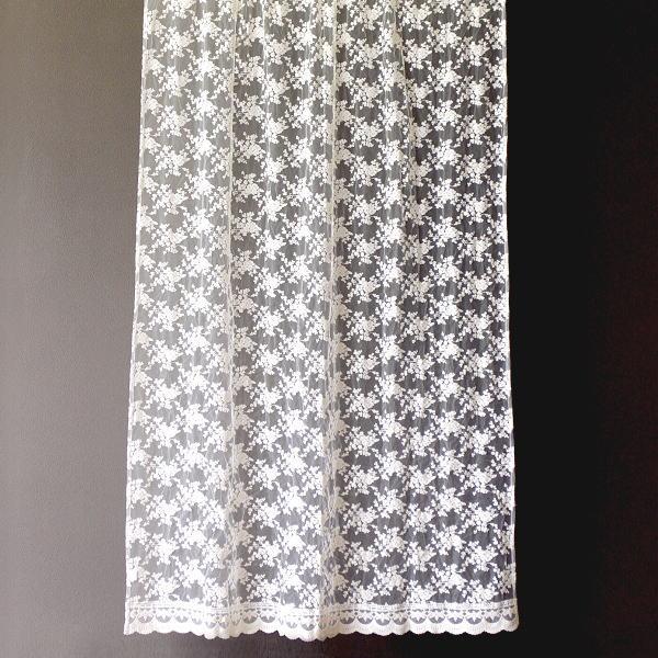 のれん 暖簾 間仕切りカーテン レースカーテン 刺繍 おしゃれ ベージュ かわいい 花柄 ロングカーテン レースカーテン 180 [won9897]