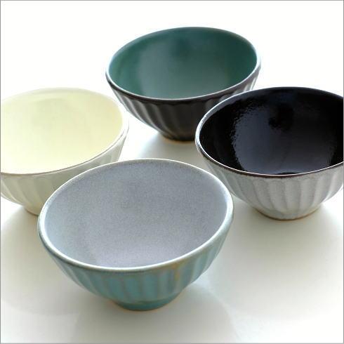 ご飯茶碗 焼き物 益子焼 日本製 陶器 シンプル モダン おしゃれ 可愛い ライン 和食器 飯椀 しのぎ4カラー