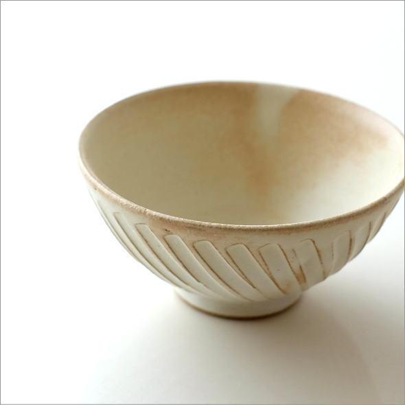 ご飯茶碗 陶器 おしゃれ 飯椀 シンプル デザイン ナナメ ストライプ ごはん茶碗 焼き物 陶芸 和食器 益子焼 日本製 飯碗 キナリnaname