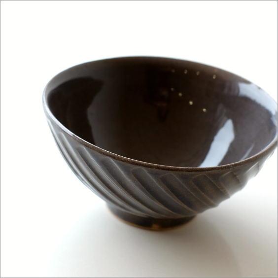 ご飯茶碗 陶器 おしゃれ 飯椀 シンプル デザイン ナナメ ストライプ ごはん茶碗 焼き物 陶芸 和食器 益子焼 日本製 飯碗 グレーnaname