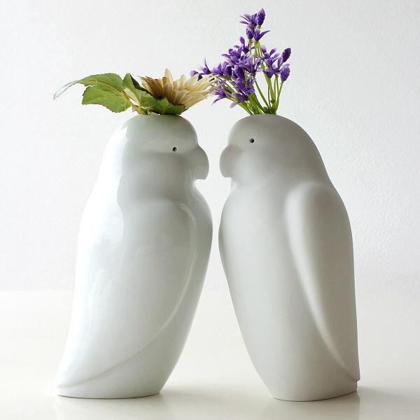花瓶 おしゃれ 陶器 一輪挿し 白 ホワイト 鳥 かわいい  オウムの花瓶2タイプ [wwo2712]