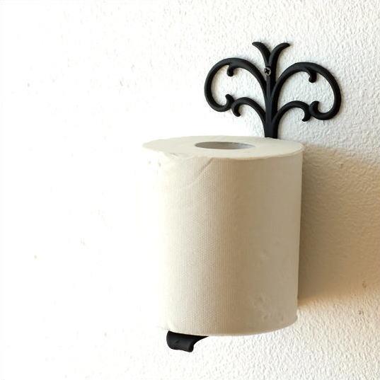エレガントな黒の壁掛け真鍮トイレットペーパースタンド