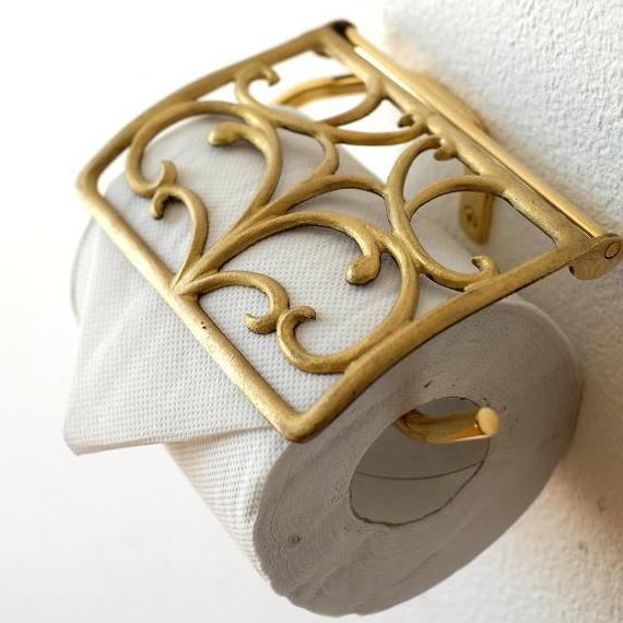 トイレットペーパーホルダー カバー 真鍮 アンティーク エレガント おしゃれ ゴールド 金 ブラスペーパーホルダー G [ydj8455]